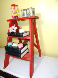 Vintage Step Ladder Red Side Table~found a small one
