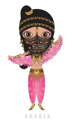 Arabia Travel Doll ~ by Veronica Alvarez Decoupage Vintage, Kawaii, Thinking Day, We Are The World, World Cultures, Illustrations, Betty Boop, Digital Illustration, Paper Dolls