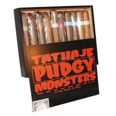 Tatuaje Pudgy Monsters 2014: Fans of Tatuaje look forward every year to the very limited installment of the Tatuaje Monsters series! In 2014, the sampler released contains 10 cigars, six of them smaller versions of the previous Monsters (Frank, Drac, Face, Wolf, Mummy, Jason) and two new blends (Chuck and Tiff). Made in Esteli, Nicaragua at the My Father Cigars factory.