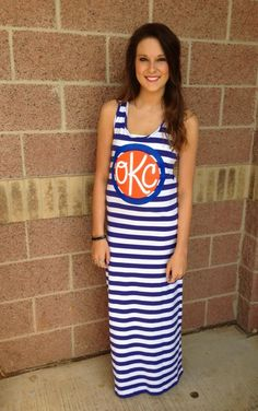OKC monogram striped maxi dress #okcthunder #lushfashionlounge