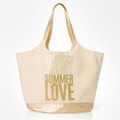 Victoria's Secret Limited Edition 'summer Love' Swim Tote Beach Natural / Gold Beach Bag $34