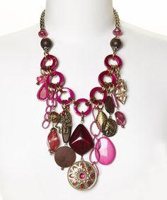 Pink & Gold Charm Bib Necklace by Treska #zulily #zulilyfinds