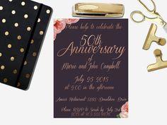 Rose Gold Anniversary Invitation Wedding Anniversary Invitations, Gold Foil, Rsvp, Rose Gold, Floral, Etsy, Happiness, Bonheur, Being Happy
