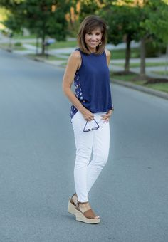 Navy Top + White Jeans