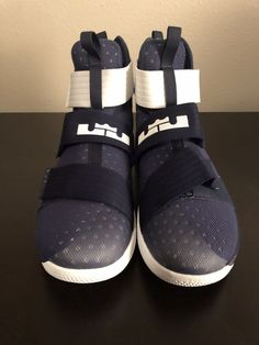 c68a7277f2ed Nike LeBron James Soldier 10 Men s Basketball Shoes Navy Blue  amp  White  Size 14