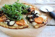 Cauliflower Pizza with Smoked Mozzarella, Sweet Potato, Caramelized Onions and Arugula