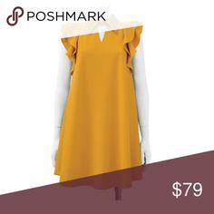 New! Studded Collar Tunic Dress 95% Polyester 5% Spandex. XL (12/14), 1XL (16) Color: Mustard. Gracia Dresses Mini