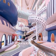 A polka-dot slide into a ball pit and giant pastel parasols feature in a fantastical miniature city called Shenzhen Neobio Family Park, by X+ Living. Bühnen Design, Store Design, House Design, Creative Kids Rooms, Aesthetic Rooms, Dream Rooms, Cool Rooms, Room Decor Bedroom, Floors
