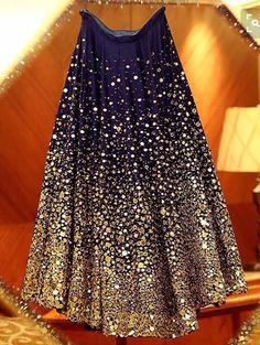 """Throwback to Geeta Basra's stunning midnight blue lehenga by Archana Kochhar with mirror work and Swarovski crystals. Pakistani Dresses, Indian Dresses, Indian Outfits, Eid Outfits, Work Outfits, Indian Attire, Indian Ethnic Wear, Indian Designer Outfits, Designer Dresses"