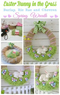 Easter Decorations 793759503054364456 - Easter Bunny in the Grass Burlap Ric Rac and Chevron Spring Wreath at The Happy Housie Source by Easter Projects, Easter Crafts For Kids, Easter Decor, Easter Centerpiece, Bunny Crafts, Fun Projects, Hoppy Easter, Easter Bunny, Easter Eggs