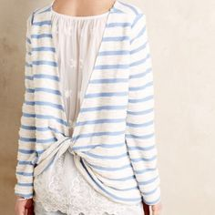 Anthropologie Ingleside Pullover Gorgeous terry cloth striped top in baby blue and white, with pretty laced gatherback. In excellent, like-new condition. Anthropologie Tops Tees - Long Sleeve