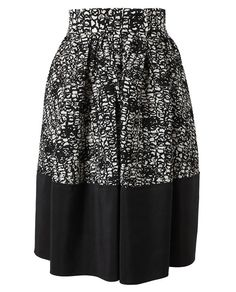 BALENCIAGA Scribble Printed Silk Skirt