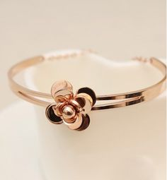 Chanel Vintage CC Logos Bangle Rose Gold Bracelet