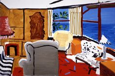 David Hockney, Livingroom at Malibu With View,  1988 oil on canvas, 24x36 in.