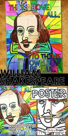 WILLIAM SHAKESPEARE, SHAKESPEARE QUOTE WRITING ACTIVITY, COLLABORATIVE POSTER, GROUP PROJECT | HIGH SCHOOL ENGLISH | ENGLISH LANGUAGE ARTS | FOR ANY SHAKESPEARE PLAY | ROMEO AND JULIET, HAMLET, MACBETH, JULIUS CAESAR, A MIDSUMMER NIGHT'S DREAM
