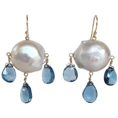 Blue Topaz Drop and Baroque Pearl Earrings 1