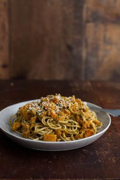 Roasted Butternut Squash and Udon Noodles with Cilantro-Tahini Sauce
