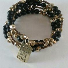 Black and Gold Memory Wire Wrap Bracelet #charmbracelet #wrapbracelet #goldbracelet Www.scarlettrozeboutique.com