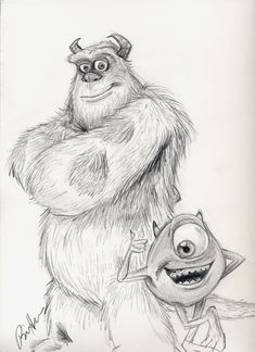 Mike and Sully by by ThePixarClub Disney Drawings Sketches, Cute Disney Drawings, Cute Sketches, Cartoon Sketches, Cute Drawings, Drawing Sketches, Pencil Drawings, Disney Character Drawings, Cartoon Disney