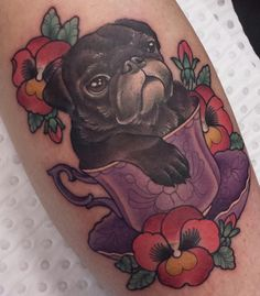 Pug in a teacup tattoo - Eddy Lou (NSW)