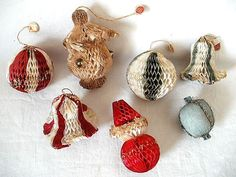 reserved for donna 7 vintage 1950s paper christmas ornaments honeycomb santa - Old Fashioned Paper Christmas Decorations