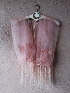 Image of Vintage tulle fringe bohemian gypsy scarf