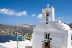 View to Aegiali Bay from Agios Georgios Chuch in Potamos Greece Islands, Wanderlust, Building, Colors, Buildings, Colour, Color, Construction, Greek Islands