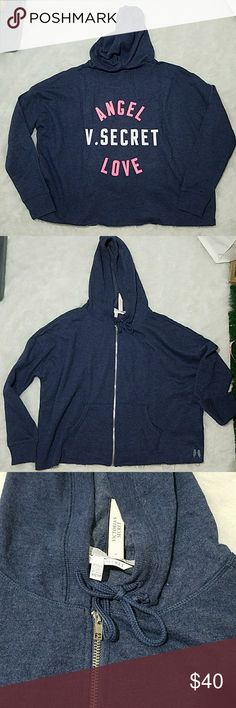 Oversized Victoria's Secret Full Zip Hoodie Jacket Victoria's Secret Full Zip Jacket in blue. Has pink & white print on back. Frayed hem. White Angel Wings on bottom left. Size XS. Oversized. See measurement in pic.  224 Victoria's Secret Tops Sweatshirts & Hoodies