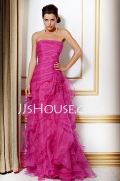 Prom Dresses - $147.99 - A-Line/Princess Strapless Floor-Length Organza  Satin Prom Dresses With Ruffle (018004813) http://jjshouse.com/A-line-Princess-Strapless-Floor-length-Organza--Satin-Prom-Dresses-With-Ruffle-018004813-g4813