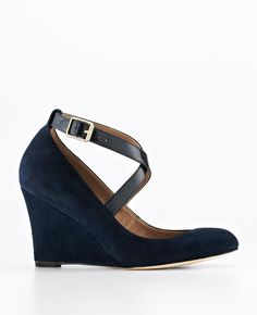 Isabel Ankle Strap Suede Wedges   Ann Taylor -- they're a beautiful navy suede in real life $168