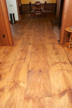 wide plank Eastern White Pine, with a custom stain and a pure tung oil finish