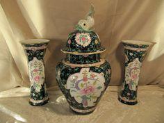 Rare Large Herend Hungary Black Dynasty SN Siang Noir Garniture Jar Vase Set