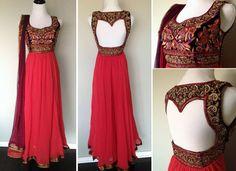 red anarkali - Outfit; Back design