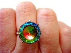 Rare Rainbow Crystal Ball Ring by JennKoDesign on Etsy