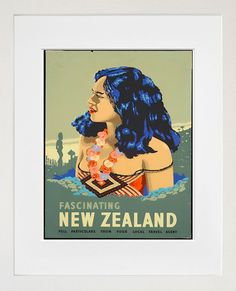 Travel Poster New Zealand Art Print Vintage Home by Blivingstons, $8.99