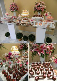 Chá de panela | Decoração | lírios | LOVE | colheres de chocolate | cake pop