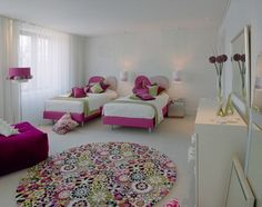Modern Shared Kids Bedroom Design Ideas in Pink and Green Color Scheme with Two Single Beds and Modern Decorating Interior - Popular Apartment, Home Interior and Outdoor Ideas