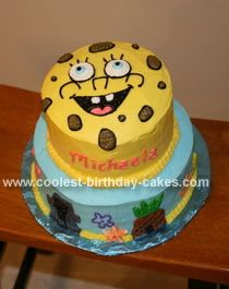 Spongebob and Bikini Island: I baked two, two layer tiers to build this Spongebob cake. The cake flavor is French vanilla. I frosted the cake with butter cream frosting. Remember to