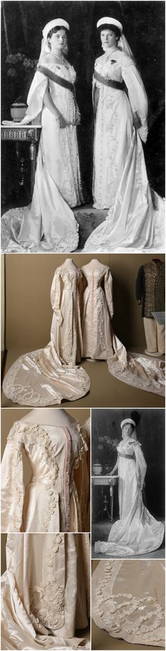 Court dresses belonging to Grand Duchesses Olga Nikolaevna and Tatiana Nikolaevna, O. N. Bulbenkova's Workshop, St. Petersburg, 1913. Satin, tulle, velvet, artificial flowers, artificial pearls. State Hermitage Museum, via Ghosts of Imperial Russia on Tumblr. Whereas there are minor differences between the two extant gowns, the 1913 photo by Boissannas et Eggler of St. Petersburg shows Olga (left) and Tatiana (right) wearing virtually identical gowns. CLICK THROUGH FOR VERY LARGE, HI-RES…