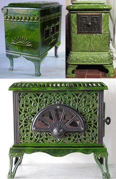 French cast iron stoves - want matching ones in the 2 fireplaces. Lots of designs/colours available but would need to order soon Old Wood, How To Antique Wood, Art Nouveau, Stove Heater, Old Stove, Cast Iron Stove, Vintage Stoves, Antique Stove, Cooking Stove