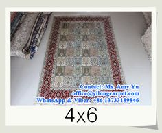 Four season design 4 x 6 hand knotted silk rugs