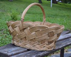 Wicker Basket - Large Picnic Basket - Old Wicker Basket - Handmade Wicker Basket - Big Market Basket - Grocery Basket - Traditional Basket