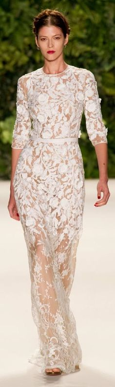 Naeem Khan Spring 2014 long white lace floral see through gown dress