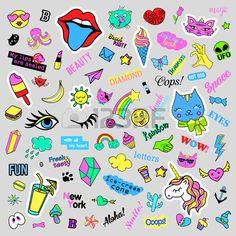 Fashion quirky cartoon doodle patch badges with cute elements.