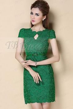 Solid Color Round-Neck Short Sleeve Embroidered Lace Sheath Dress