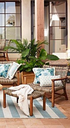 Easy-care Isola is rustic, appealing + works in virtually any climate. Outdoor Rooms, Outdoor Living, Outdoor Furniture, Outdoor Decor, Rattan, Wicker, Sitting Rooms, Sunrooms, House 2