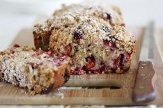 plum-blackberry cream cheese bread with oat streusel by girlversusdough - this looks and sounds amazing! a must try