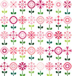 Cross stitch pattern. Pretty pink  retro flowers by crossstitchtheline on Etsy