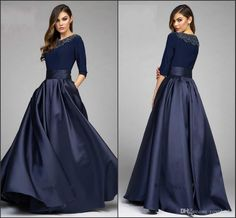 Vintage Navy Designer Mother Of The Bride Groom Dresses 2016 A Line Half Sleeves Beaded Satin With Pockets Long Evening Formal Gowns Mother Of The Bride Petite Dresses Navy Blue Mother Of The Bride Dresses From Yoyobridal, $108.55| Dhgate.Com