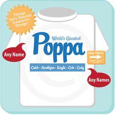 Personalized World's Greatest Poppa Adult Tee shirt